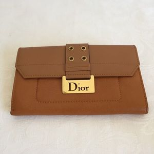 Christian Dior brown leather wallet
